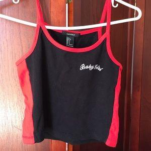black/red babygirl crop top